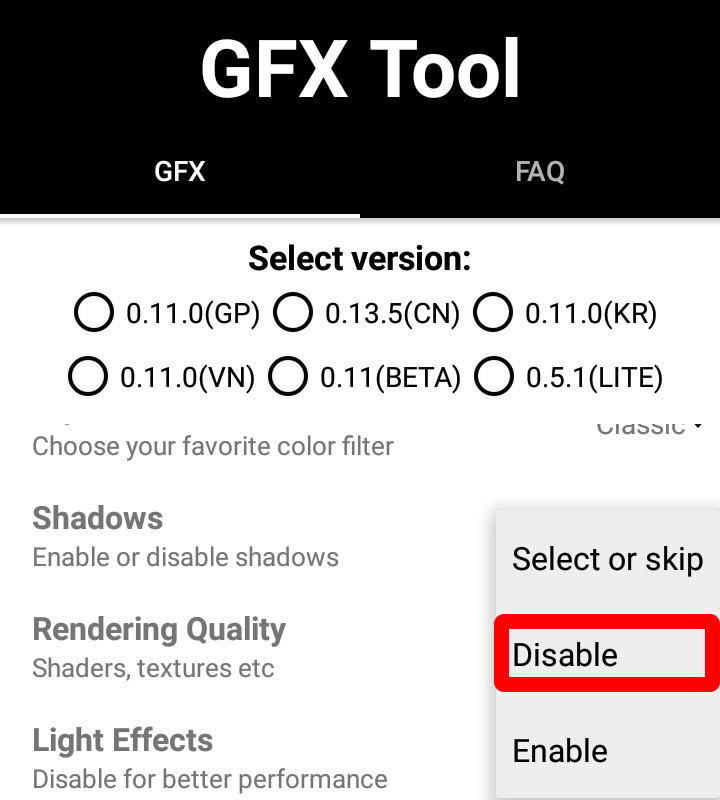 gfx tool shadow setting