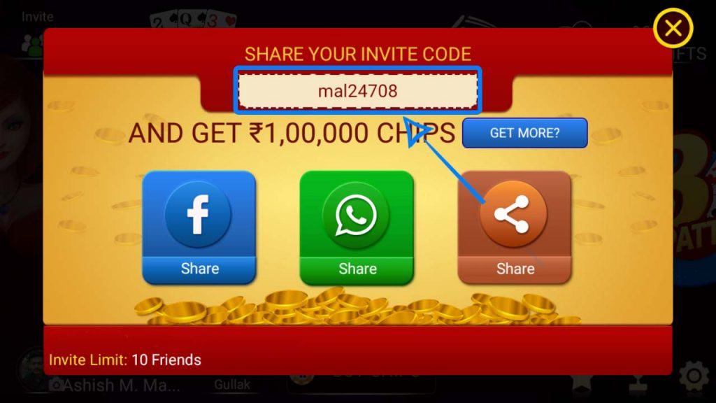 Get Free Chips In Teen Patti