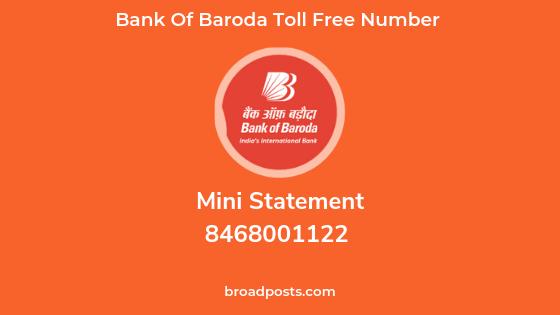 Bank of Baroda Mini Statement Number